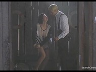 Hot scene from a movie shows curly-haired dame that demonstrates her hairy pussy and has fun with officer 4