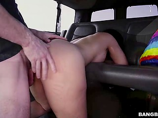 Smoking-hot brunette with big butt agreed to take a ride around city in the van of pleasure