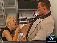 Attractive secretary without any problems agrees to satisfy her boss right in his cabinet