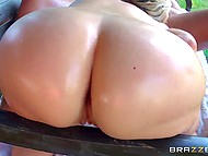 Luxurious blonde and her stunning body attract the attention of gardener with big hose 5