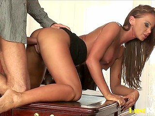 Naughty secretary while cleaning chief's table accidentally excites him and gets screwed in her ass