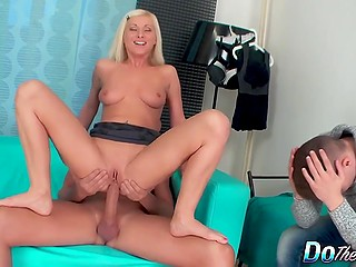 Slutty blonde punishes her unfaithful husband by having sex with lover in his presence