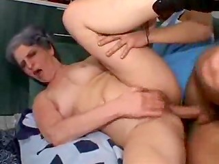 Horny granny made a pass at youngster and he was not going to give up the opportunity to fuck