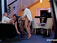 Insidious enslaver wanted to sneak into party but bald security guards doughtily stopped her with dicks 6