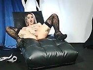 Solo porn video with Portuguese in sexy lingerie playing with herself on leather lounge chair