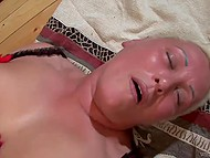 White-haired mature lady with tattooed eyebrows obtained facial cumshot after sexual act with young fucker 10