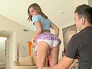 Naughty Riley Reid pretends she is innocent college girl and lets mate lick her shaved pussy