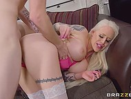 Tattooed pornstar in white stockings showed how good is her deep throat then brought guy to ejaculation 6