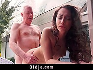 Lass was playing in the yard and turned adult man on so he took cock out and shagged her