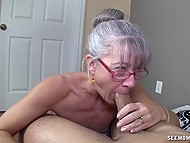 Old woman with glasses missed young cock and treated bearded bloke with mouth 10