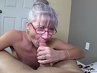 Old woman with glasses missed young cock and treated bearded bloke with mouth
