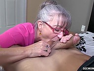 Old woman with glasses missed young cock and treated bearded bloke with mouth 3