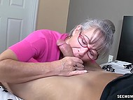 Old woman with glasses missed young cock and treated bearded bloke with mouth 4