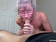 Old woman with glasses missed young cock and treated bearded bloke with mouth 5