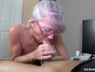 Old woman with glasses missed young cock and treated bearded bloke with mouth 6