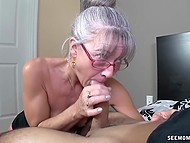 Old woman with glasses missed young cock and treated bearded bloke with mouth 9