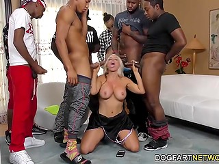 Black guys took advantage of huge penises and gave buxom blonde semen mask