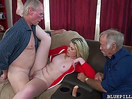 Sex with girl with braces was an excellent gift for two old men, one of whom fucked her but another just watched