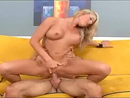 Hot sex on sofa ends for well-shaped babe with a cumshot on her beautiful legs 9