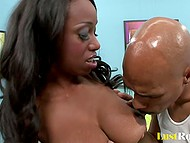After treating busty babe with ice-cream, Ebony swain presented her his huge lollypop 4