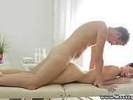 Relaxing massage before sensual sex with handy guy brought petite visitor unseen pleasure 9