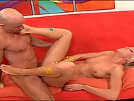 Bald bloke distracted astounding painter while she was making a new body-art 11