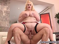 After deepthroat blowjob by BBW in high heels, gallant man shoved his device into the trimmed vagina