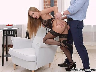 Girl found a potential sponsor and went to his apartment to mix business with pleasure
