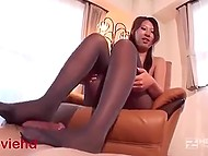Japanese works out penis with tender legs in pantyhose and makes it ejaculate 8