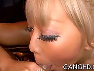 Glamorous Japanese with light hair got cunny fingered before giving blowjob to two guys 8