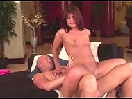 Red-haired courtesan has a passionate fucking with her bald muscular buddy 6