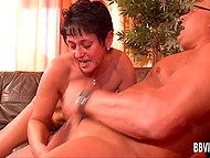 During swinger party mature couple is left alone in the room and has a nice sex 11