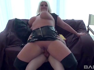 Geek guy received nice present on his birthday - sex act with astonishing blonde BBW