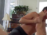 Tough guy tears leggings on his girlfriend and passionately fucks her wet pussy 8