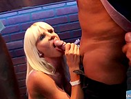 Party in night club came to its end so strippers and visitors began giving each other oral pleasures