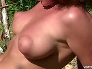 Ebony babe pervaded into apple orchard but was caught by owner and nicely taught a lesson 7