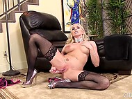 MILF in stockings feels bored at home so her new glass dildo can help her to appease her lust