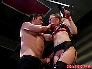 In order to bring something new into their routine sex, guy tied up lustful girlfriend and fingered her pussy