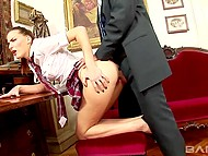 Attractive student receives excellent marks by having anal sex with headmaster