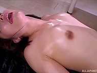Teenage hottie received relaxing massage and happily served several penises in the Japanese video 10