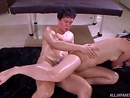 Teenage hottie received relaxing massage and happily served several penises in the Japanese video 9