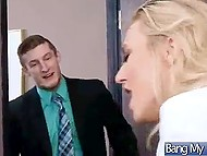 Principal Natalia Starr liked fucking machine and rode it while giving bj to distributor 8