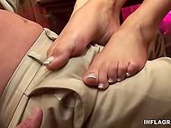 Hardworking man fulfilled sexual needs of playful girls and ejaculated on their feet 4