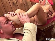Hardworking man fulfilled sexual needs of playful girls and ejaculated on their feet 6