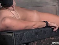 Debauched men chained petite babe and roughly fucked her from both sides in the basement 6