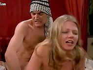 Two vintage scenes of adult movie with winsome porn actress Anne Magle from Denmark