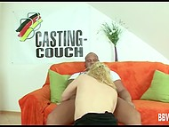 Flaxen-haired German whore decided to try herself in porn filming so came to casting 9