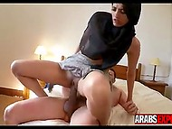 Young Muslim in black hijab needed money and pickup master made her advantageous offer 8