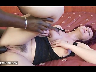 Bald fucker with great black dick paid due attention to red-haired mature lady