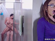 Sight of naked man in shower turned MILF on so she began sex with him but later her friend joined them 7